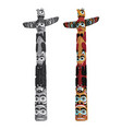 canadian indigenous wooden totem pole vector image