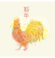 Cock on watrcolor background vector image vector image