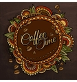 Coffee time decorative border label design vector image vector image