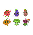 colorful cute kawaii vegetables set vegetarian vector image vector image