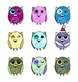 Colorful set Christmas owls vector image vector image