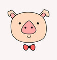 cute head pig with bow tie vector image