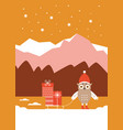 cute owl in red hat with sled and gifts vector image