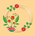 decorative frame flowers leaves decoration vector image vector image