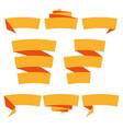 folded ribbon banner set collection orange vector image vector image