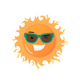 funny toothy smiling sun in sunglasses emoji vector image