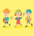 group of three caucasian children planting flowers vector image