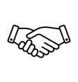 hand shake business partner agreement icon vector image vector image
