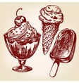 Ice cream set hand drawn llustration vector image