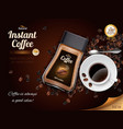 instant coffee realistic poster vector image vector image