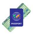 international blue passport and flight ticket vector image vector image