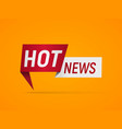 isolated banner hot news on orange background vector image vector image