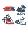 kart club promotional emblems set with protective vector image vector image