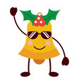 kawaii christmas jingle bell with sunglasses vector image