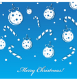 merry christmas blue greeting card with balls vector image