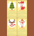 merry christmas set posters vector image vector image