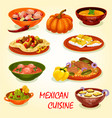 mexican cuisine icon with traditional food vector image