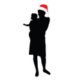 mom with christmas hat and daughter vector image vector image
