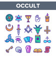 occult demonic entity imagery linear icons vector image vector image
