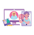 people creativity and technologygirl in screen vector image