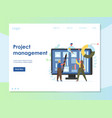 project management website landing page vector image vector image