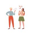 quarrel between teenager girl and guy flat vector image vector image