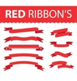 Red ribbon set vector image