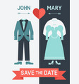 save date card with bride dress and groom suit vector image