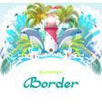 sea tropical cartoon border vector image