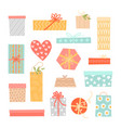 set gift boxes and packages vector image vector image