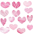 set of hatching hearts vector image