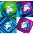 set of rotating swirl square backgrounds color vector image