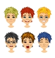 set of teenager avatar expressions vector image vector image