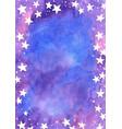 Star on fairy tale sky watercolor frame