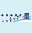 stewardess welcoming mix race passengers vector image