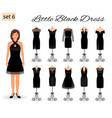 stylish woman model character in little black vector image vector image