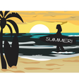 Summer Beach with surfer silhouette vector image vector image