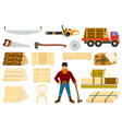 timber woodcutter character or logger saws vector image vector image