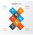 tools icons set collection of ruler paint turn vector image vector image