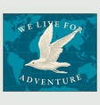 travel banner with seagull and world map vector image vector image