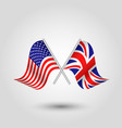 two crossed american and british flags vector image vector image