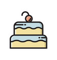 two layered birthday cake icon with cherry on top vector image vector image