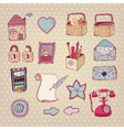 vintage drawn objects vector image