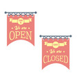 vintage open and closed business signs red vector image vector image