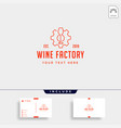 wine gear logo design alcohol factory icon element vector image