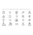 working day concept line style icons set vector image vector image
