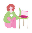 working remotely girl sitting on floor vector image