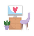 workspace computer on furniture chair and plant vector image vector image