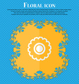 cogwheel Floral flat design on a blue abstract vector image