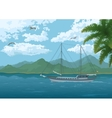 Sea Landscape with Ship Mountains and Birds vector image
